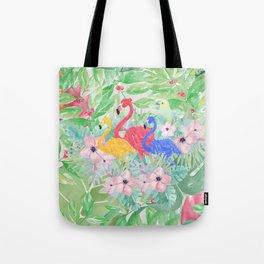 Tropical green pink watercolor colorful flamingo floral Tote Bag