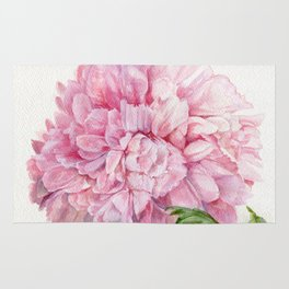 Pink Peony Floral Watercolor Detailed Botanical Garden Flower Realism Rug