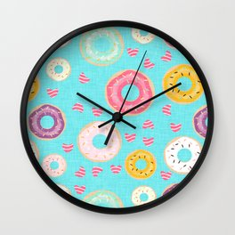 hearts and donuts blue Wall Clock