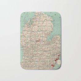 Vintage Map of Michigan (1888) Bath Mat