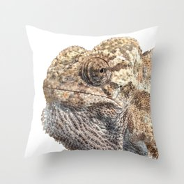 Chameleon With Sinister Facial Expression Isolated Throw Pillow