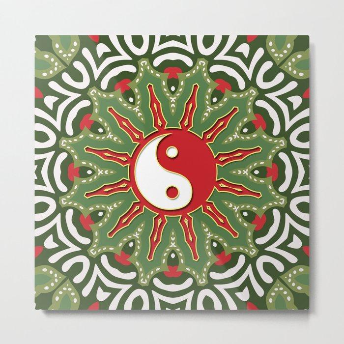 Red Yin Yang Sun Festive Mandala Metal Print