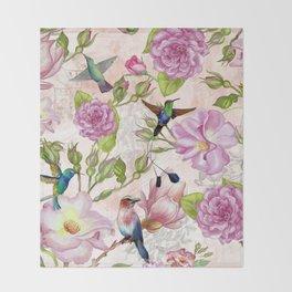 Vintage Roses and Hummingbird Pattern Throw Blanket