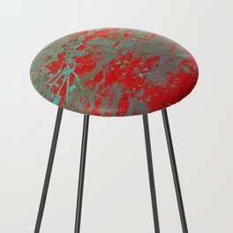 texture - aqua and red paint Counter Stool