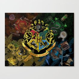 Hogwarts Logo Houses Canvas Print