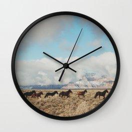 Running Reservation Horses Wall Clock