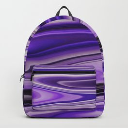 Purple Waves Abstract Art, Digital Fluid Artwork Backpack