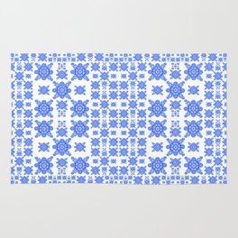 Classic Blue and White Miniature Mandala Print Rug