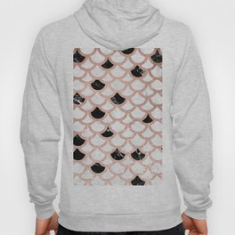 Girly rose gold black white marble mermaid scallop pattern Hoody