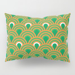 retro sixties inspired fan pattern in green and orange Pillow Sham