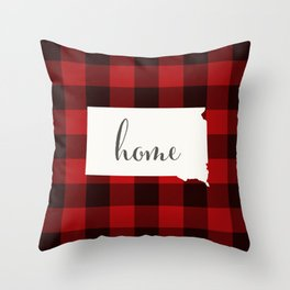 South Dakota is Home - Buffalo Check Plaid Throw Pillow