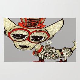 Steampunk Chihuahua gray grey Rug