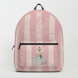 Vintage Nostalgic Christmas Fairy In Soft Pink Pastels Backpack