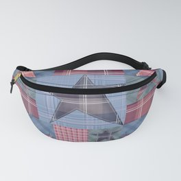 Blue denim plaid patchwork . Fanny Pack