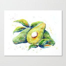 Avocados - Watercolor Canvas Print