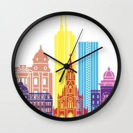 Santiago de Cali skyline pop Wall Clock