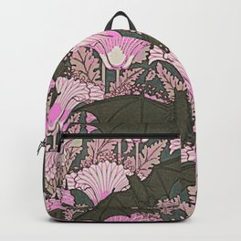 VINTAGE BATS & PINK LILIES ART Backpack
