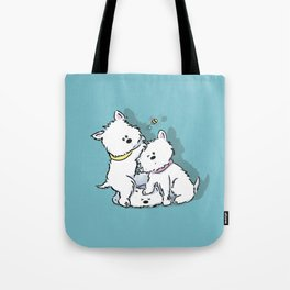 Westie's Chasing a Bee Tote Bag