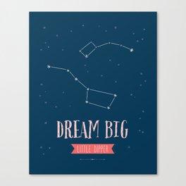 Dream Big Little Dipper - Navy & Pink Canvas Print