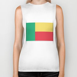 Flag of Benin. The slit in the paper with shadows.  Biker Tank
