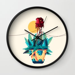 Potted house with plants Wall Clock