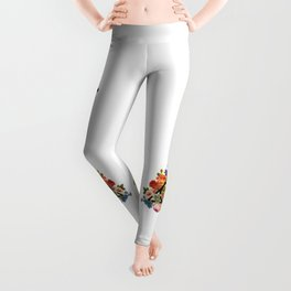 Floral Deathly Hallows Owl and Stag - Black Leggings