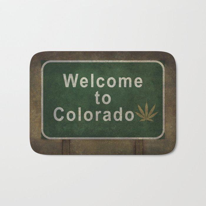 Welcome to Colorado (with marijuana leaf symbol), roadside sign illustration Bath Mat