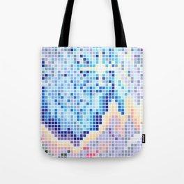 Pixelated Nebula Blue Tote Bag