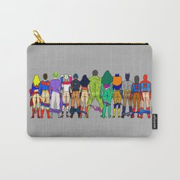 Superhero Butts - Power Couple on Grey Carry-All Pouch