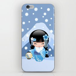 Japanese Winter Kokeshi Doll at Blue Mountain iPhone Skin