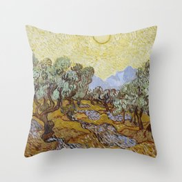 Vincent van Gogh - Olive Trees with Yellow Sky and Sun Throw Pillow