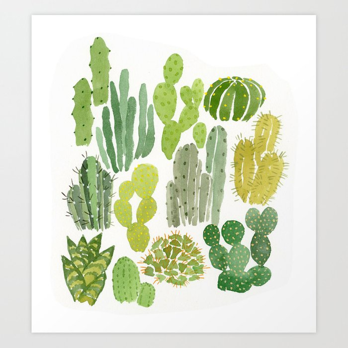 cactus art print by leahreenagoren society6