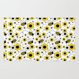 Honey Bumble Bee Yellow Floral Pattern Rug