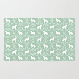 Bernese Mountain Dog florals dog pattern minimal cute gifts for dog lover silhouette mint and white Rug