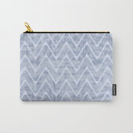 Pale Foamy Blue Chevron Faux Toweling Carry-All Pouch