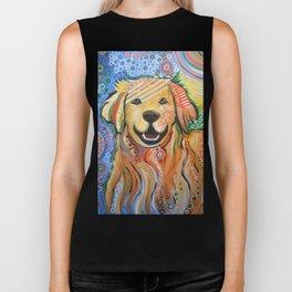 Max ... Abstract dog art, Golden Retriever, Original animal painting Biker Tank