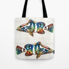 Colorful Grouper 2 Art Fish by Sharon Cummings Tote Bag