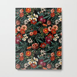 Marijuana and Floral Pattern Metal Print