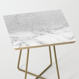 Modern faux grey silver glitter ombre white marble Side Table