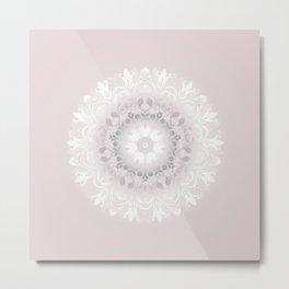 Blush Gray White Floral Mandala Metal Print