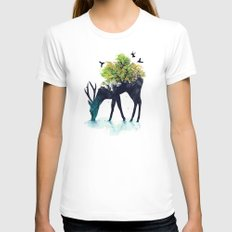 Watering (A Life Into Itself) MEDIUM White Womens Fitted Tee