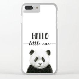 Panda Art Print Baby Animals Hello Little One Nursery Decor Clear iPhone Case