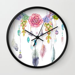 Spirit Gazer With Crystals And Succulents Wall Clock