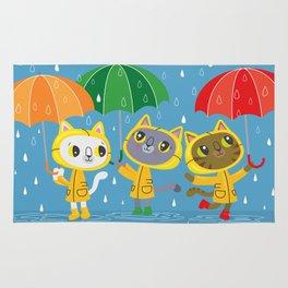 Rainy Day Kitty Cats Rug