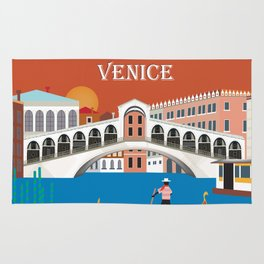 Venice, Italy - Skyline Illustration by Loose Petals Rug