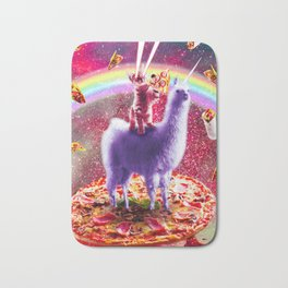 Laser Eyes Outer Space Cat Riding On Llama Unicorn Bath Mat