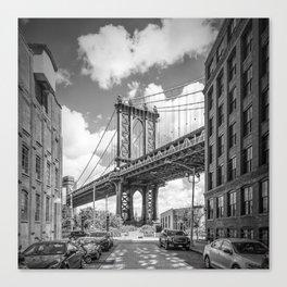 NEW YORK CITY Manhattan Bridge | Monochrome Canvas Print