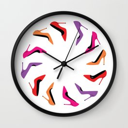 Colorful high heel shoes graphic illustration Wall Clock