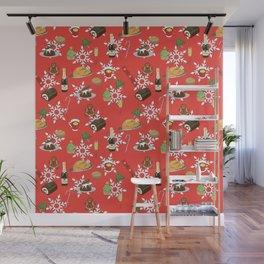 Christmas food festive pattern Wall Mural