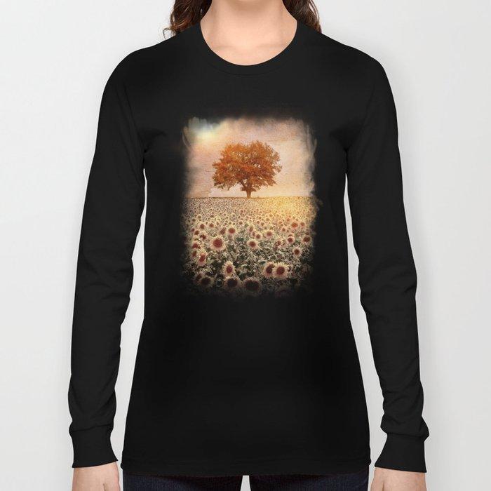 lone tree & sunflowers field (colour option) Long Sleeve T-shirt
